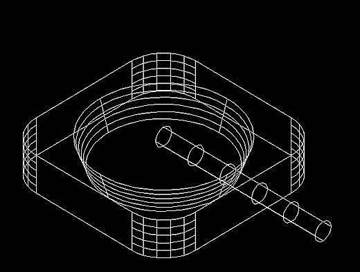 """执行二维旋转命令""""rotate"""",以圆柱体底面圆心为基点,将圆柱体旋转45&"""