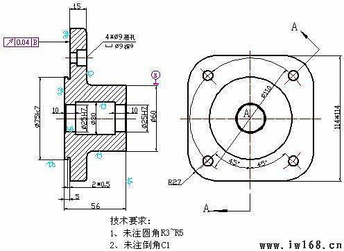 圆柱体,中间部位为圆角半径r27,厚度15mm其大小为114*114mm的正方体