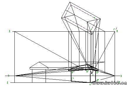 由上述作图过程可知,竖直棱线ab,cd长度相同且与画面平行,等距,其透视