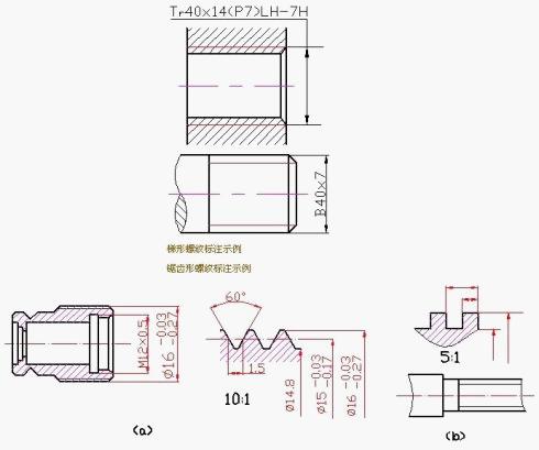 机械工程设计 基础知识 > 机械制图螺纹画法  (3) 梯形螺纹的标注