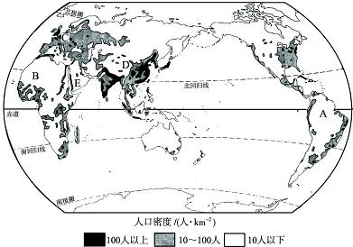 读 世界人口的分布图 ,完成下列问题. 1 世界人口的分布很不均匀,其