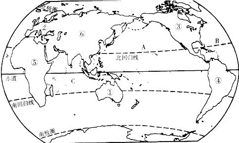 读世界轮廓图,完成下列填空.(1)图中a是______洋,b是
