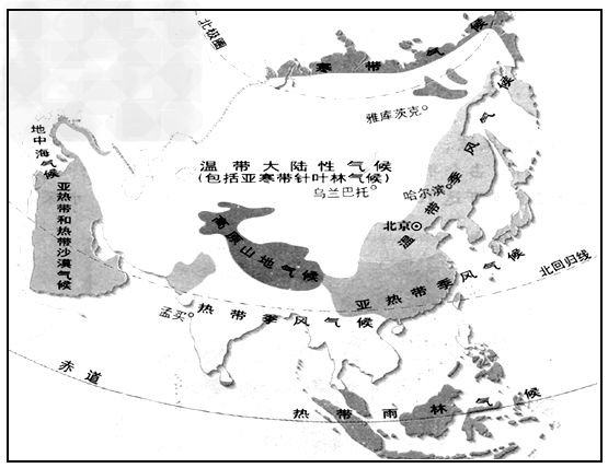 读亚洲气候类型图,完成下列问题