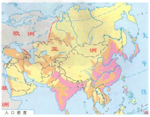 亚洲一�_读亚洲人口分布图,完成1~2题.1.关于图中地点人口密度