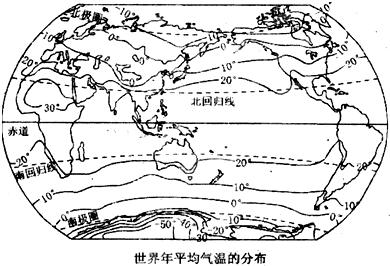 读 世界年平均气温分布图 ,完成下列各题 1 从赤道向两极,气温变