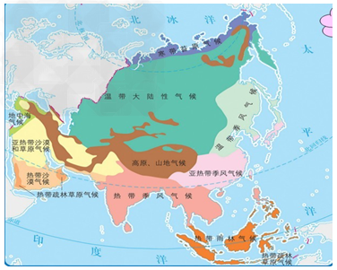 亚洲候类型分布�_读《亚洲的气候类型图》,回答问题:(1)亚洲的气候具有, 和 气候分布广