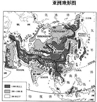 亚洲地形囹�b���_读亚洲地形图,回答问题.(1)与亚洲位于同一大陆的是