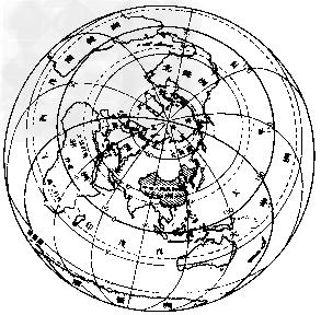 (1)在图中描出东西半球和南北半球的分界线,并说明我国的半球位置.图片