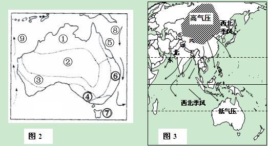 大利亚图和图3季风环流图,回答小题1 下列关于澳大利亚叙述正确的