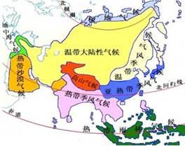 亚洲候类型分布�_如图为亚洲气候类型分布图,下列叙述不正确的是a.亚洲