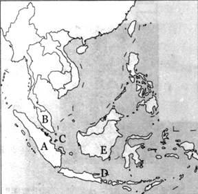印度半岛 b.俄罗斯 c.中南半岛 d.马来群岛