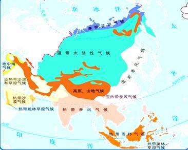 亚洲一?_读《亚洲的气候类型图》,回答(9分)(1)亚洲的气候具有