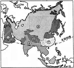 亚洲候类型分布�_读亚洲气候类型分布图,回答问题.