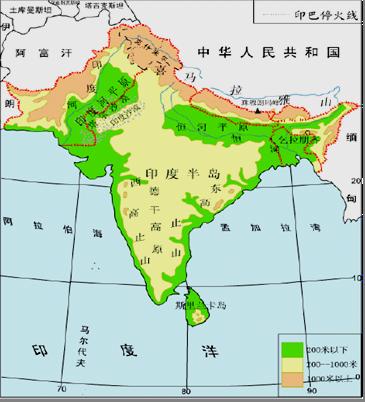 亚洲高清图_读印度地形和亚洲气候图,回答问题.(1)描述印度的地理