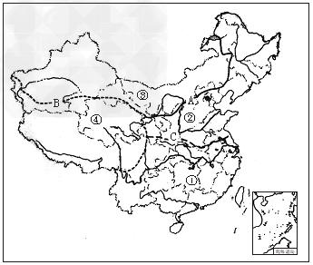 """读""""我国四大地理区域图"""",完成下列要求.图片"""