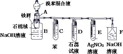 是苯和溴的取代反应的实验装置图,其中A为具有支管的试管改制成
