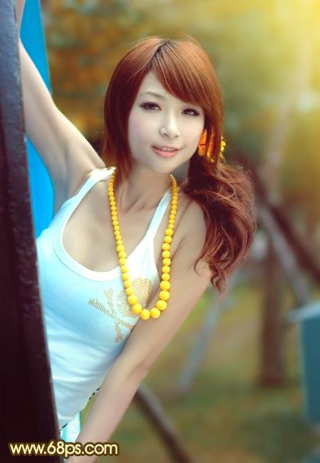利用photoshop调出公园美女图片甜美的青红色效果-photoshop-ps教程