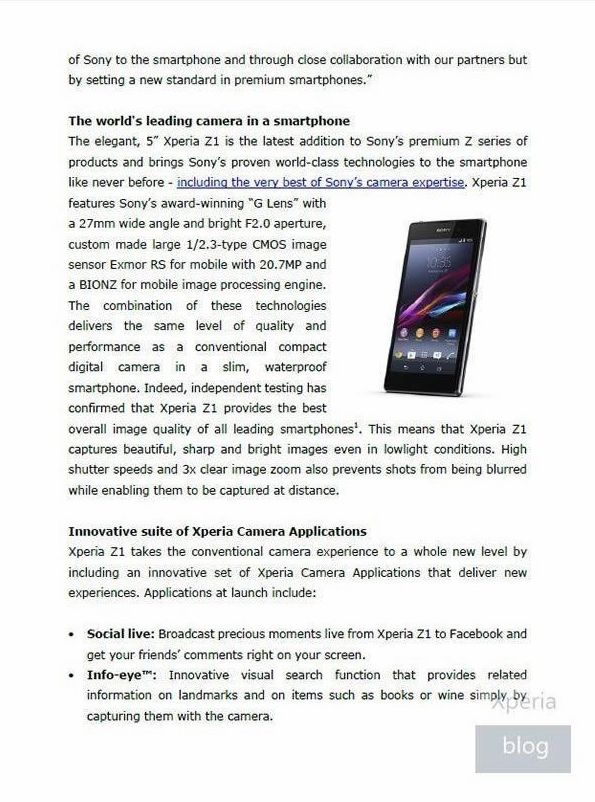 索尼xperia z1发布会秘密全曝光高清图片