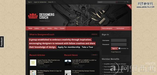 计算机/互联网 平面设计 photoshop > 设计参考:杂志风格网站设计实例