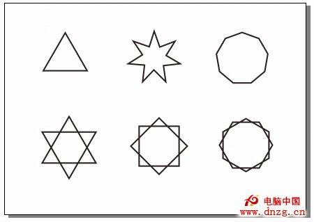 设置多边形工具属性栏后绘制的多边形和多角星