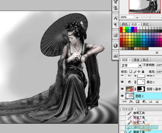 通过黑白命令打造古装美女水墨画效果
