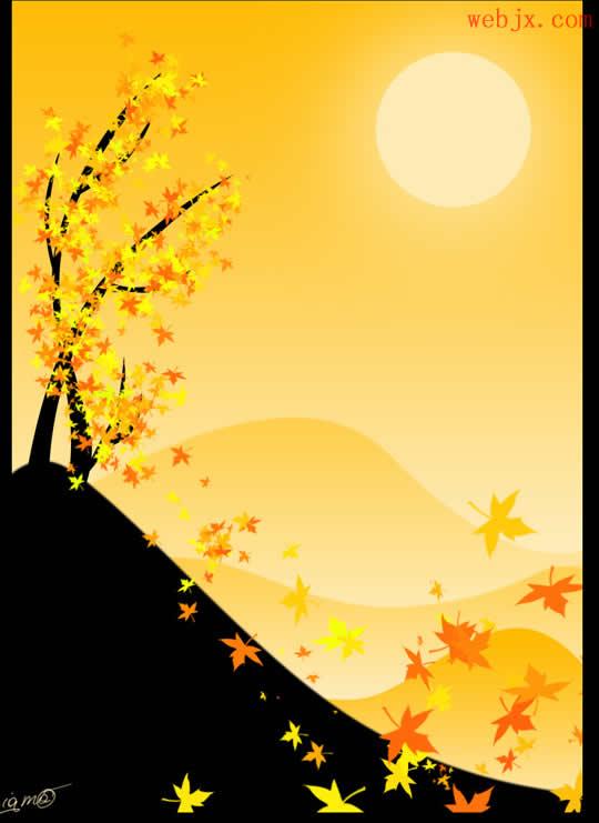 这个教程用Photoshop绘制一幅精美的秋天风景矢量图   首先创建一个文档:使用渐变工具绘制:我们利用钢笔工具绘制一个轮廓,然后设置选区:然后使用渐变工具填充,注意颜色:然后使用渐变工具填充,注意颜色:创建一个新图层,按住Shift绘制一个太阳:Ctr