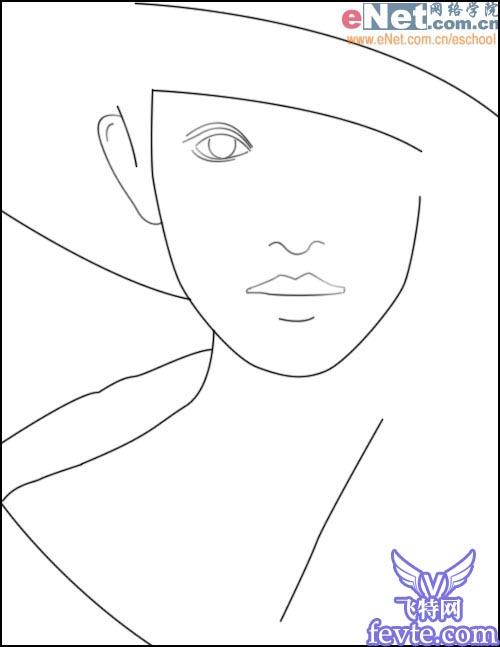 美女轮廓简笔画