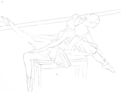 painter结合数码板绘制水彩芭蕾舞者