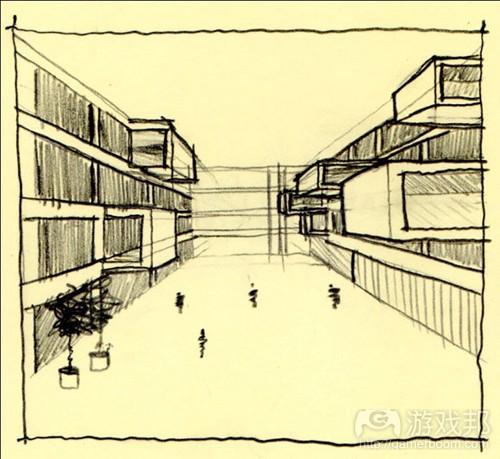 学校大厅剖面图手绘
