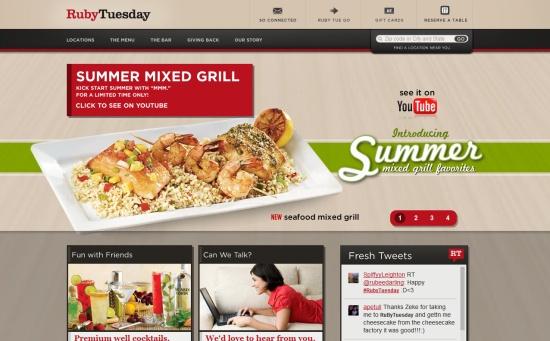 这篇文章收集了25个国外优秀的餐饮网站设计作品,希望能带给你灵感。很多餐饮店都会建立自己网站,提供在线订餐服务,这些通常会搭配诱人的食物图片,吸引顾客订购,一起欣赏。 McDonald's Ruby Tuesda