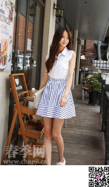 夏天韩国女人甜美淑女穿衣打扮图片