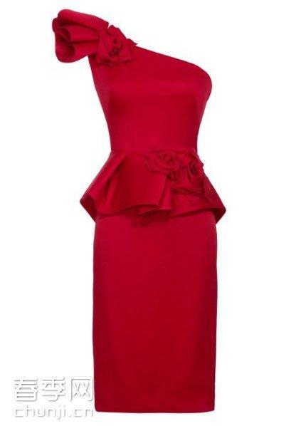 单件的折花包身小礼裙
