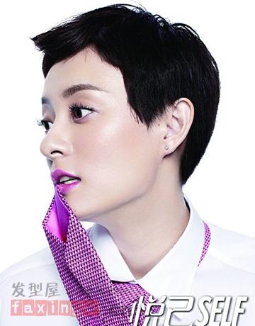 露耳帅气女生超短发 娱乐圈女汉子最爱发型图片