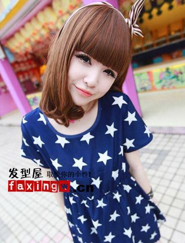 齐刘海儿发型,青春可爱又减龄.