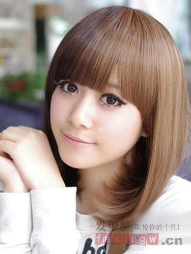 女生齐刘海最瘦脸 圆脸必备削脸减龄发型图片