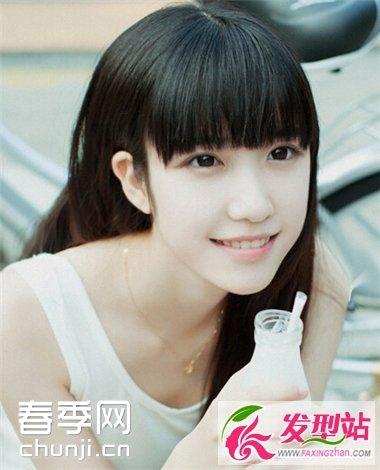 唯美清新齐刘海发型 塑造优雅恬静美女形象
