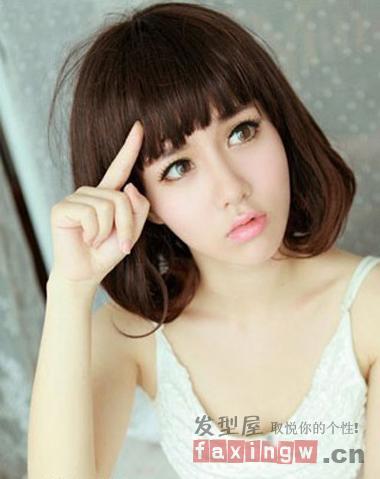 8款最新齐刘海梨花头发型 急救圆脸mm图片
