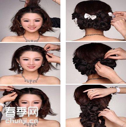 是不是十分清丽脱俗,而且这款发型是由短发编织而成的哦,各位准新娘们图片