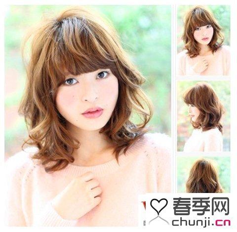 圆脸长发发型2015 圆脸女生中分长发发型 小圆脸女生发型中长发