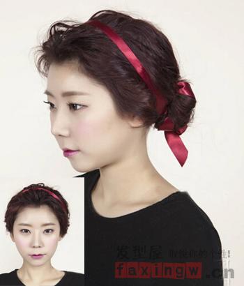 清爽露额花苞头扎发 韩式发型显优雅图片