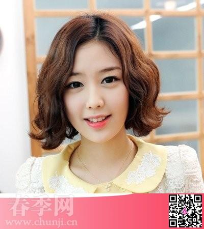 2014流行女生韩式短发烫发优雅风格图片