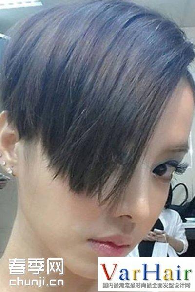 无刘海的中短发造型 齐刘海短发造型 三七分短发斜刘海造型