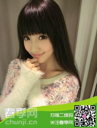 齐刘海的黑长直发型,清纯可人的妹子不可错过哦.图片