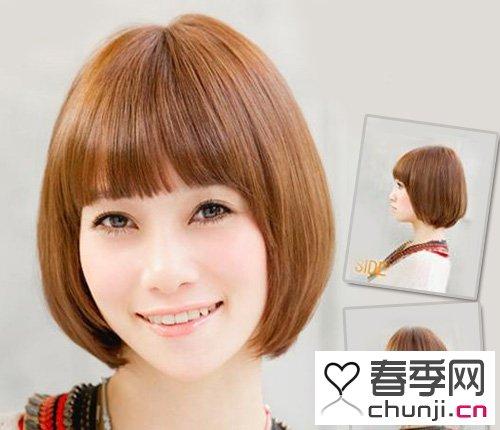 鹅蛋脸刘海发型 棕色头发.鹅蛋脸刘海发型 内扣梨花头也显得高清图片