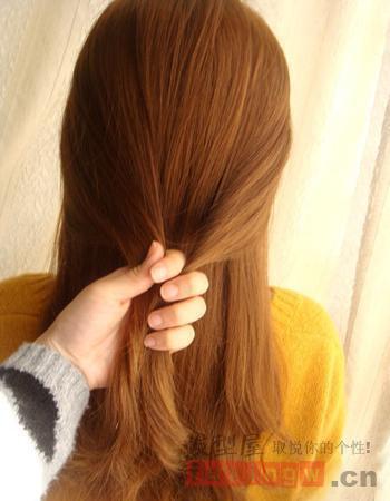 韩式淑女盘发教程图解 辫子半扎发最显气质