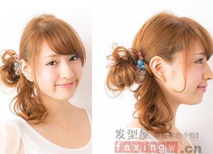 发型女生必备两款韩式中长v发型时尚扎法自己女生一个烦图片
