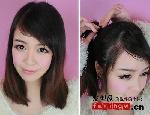 2款斜刘海可爱发型扎法图解 清纯又减龄