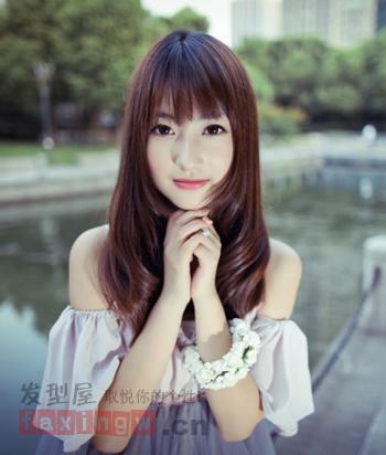 2013秋冬季韩国女生中长发 棕色染发时尚气质图片