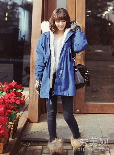 韩范冬装搭配 外套搭雪地靴就很可爱