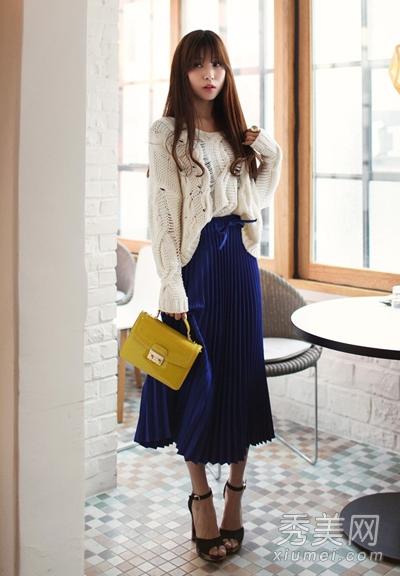 针织衫搭配长裙 穿出九头身完美身段